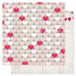 Бумага плотная двусторонняя, 1141, Heartbeat - Secret Crush, 300х300 мм., Pink Paislee