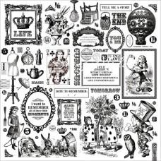 Пленка Плотная с принтом черно-белым, Drink Me, The Looking Glass Collection, 300x300 мм., Kaiser Craft, BU001362