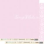 Лист бумаги двусторонний Нежный розовый, коллекция Шебби Шик Базовая, 30х30, плотность 190 гр, BU001484