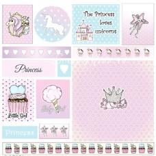 Бумага односторонняя - Карточки, коллекция Розовый единорог, Mona Design, BU001527