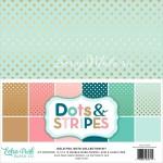 Набор двусторонней бумаги Dots&Stripes, 300x300 мм., 6 листов, тиснение золото, Echo Park, BU001568