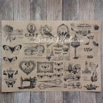 Крафт бумага с рисунком, Винтаж птицы, размер 21х30 см., плотность 90 гр\м2.,  BU001584