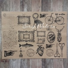 Крафт бумага с рисунком, Винтаж men, размер 21х30 см., плотность 90 гр\м2., BU001585