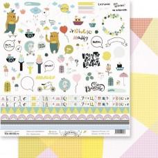 """Лист Вырежи меня, коллекция """"Весело шагать"""", двусторонняя бумага для скрапбукинга, размер 30,5 на 30,5 см., плотность 190 г/м2, TEA-MOOD, BU001605"""