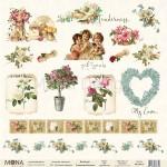 """Бумага односторонняя -Лист карточек """"Почтовые картинки"""", коллекция Нежность, Mona Design, BU001644"""