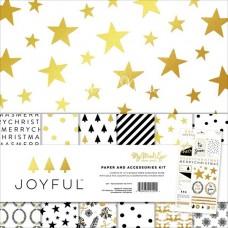 Набор бумаги Joyful, 30х30 см., в наборе 6двусторонних листов с фольгированием и лист с наклейками, My Mind's Eye, BU001655