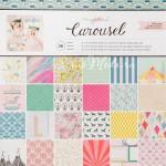 Набор бумаги Carousel 30,5x30,5 см., в наборе 36 односторонних листов из них 6 листов с глиттером. Crate Paper, BU001662