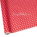 Бумага красная с белым горошком, размер гороха 6 мм., ширина 70х100 см., BU001670
