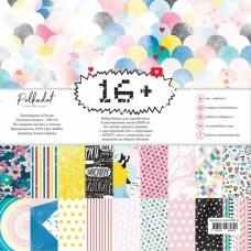 "Набор бумаги ""16+"" , (9 двусторонних листов и 1 двусторонний лист с картчоками), размер 20х20 см, Polkadot, BU001681"
