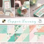 Набор бумаги Copper Luxury от DCWV,  1/2 набора, в наборе 18 двусторонних листов с фольгированием медного цвета. BU001719