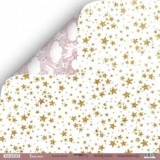 Бумага двусторонняя Золотые звезды, коллекция Unicorns, 30х30 см., плотность 190 гр/м,  Scrapmir, BU001751