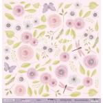 Бумага двусторонняя Цветы коллекция Daddy's Princess, 30х30 см., плотность 190 гр/м,  Scrapmir, BU001752