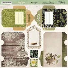 Бумага двусторонняя Конверты коллекция Cozy Forest, 20х20 см., плотность 190 гр/м,  Scrapmir, BU001760