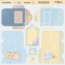 Бумага двусторонняя Конверты коллекция Little Bear, 20х20 см., Scrapmir, BU001761