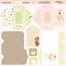 Бумага двусторонняя Конверты коллекция Doll Baby, 20х20 см., Scrapmir, BU001763