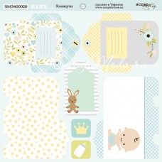 Бумага двусторонняя Конверты коллекция Smile Baby, 20х20 см., плотность 190 гр/м,  Scrapmir. BU001764