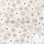 """Лист веллума Dear Lizzy """"Stay Colorful"""", 30х30 мм, золотые цветы на кальке с фольгированием, American Craft, YA000215"""
