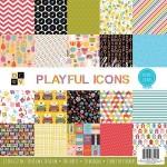 Набор бумаги Playful iconc от DCWV,  1/5 набора, в наборе 20 односторонних листов. BU001779