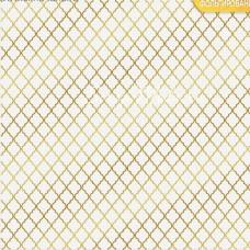 Бумага односторонняя с фольгированием Восток, белый фон, размер 30,5 х 30,5 см, 180 г/м, АртУзор, BU001811