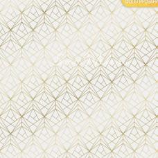Бумага односторонняя с фольгированием Грани, белый фон, размер 30,5 х 30,5 см, 180 г/м, АртУзор, BU001812