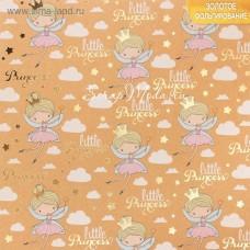 Бумага односторонняя  с фольгированием Маленькая принцесса размер 20 х 20см, 250 г/м, АртУзор, BU001817