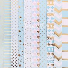 Набор бумаги односторонней с фольгированием Радость дня, 10 листов, размер 30,5 х 30,см, 180 г/м, АртУзор, BU001824