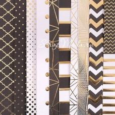 Набор бумаги односторонней с фольгированием Магический чёрный, 10 листов, размер 30,5 х 30,см, 180 г/м, АртУзор, BU001825