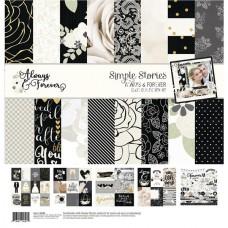 Набор бумаги коллекции Always&Forever, размер 30х30 см., Simple Stories, BU001887