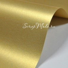Бумага дизайнерская гладкая,  с перламутром, цвет настоящее золото, двусторонний металлик, плотность 120 г/м2, размер 21х30 см., BU001890