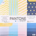 Набор бумаги односторонней Pantone paper, с фольгированием, 12 листов, размер 30,5 х 30,см, 200 г/м, АртУзор, BU001893