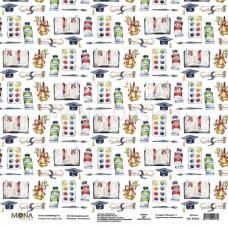 """Лист односторонний Школьный рисунок """"Учат в школе"""", 305х305мм 190гр/м, Mona Design, BU002007"""