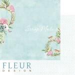 Лист бумаги двусторонний Прохлада, коллекция Дыхание весны,  30,5х30,5 см, плотность 190 гр, Fleur design. BU002110