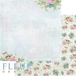 Лист бумаги двусторонний В тени цветов, коллекция Дыхание весны,  30,5х30,5 см, плотность 190 гр, Fleur design. BU002112