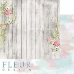 Лист бумаги двусторонний Палисадник, коллекция Дыхание весны,  30,5х30,5 см, плотность 190 гр, Fleur design. BU002113