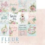 Лист бумаги двусторонний Карточки, коллекция Дыхание весны,  30,5х30,5 см, плотность 190 гр, Fleur design. BU002119