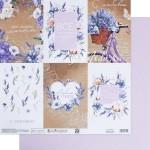 Бумага двусторонняя Лавандовые карточки, размер 30,5х32 см, 180 г/м, Арт Узор, BU002137