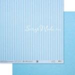 Бумага двусторонняя Голубая базовая полоска, размер 30,5х32 см, 180 г/м, Арт Узор, BU002155