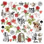 """Лист для вырезания """"Alice in wonderland"""", Коллекция """"Alice in wonderland"""", плотность бумаги 190гр, размер 30,5х30,5см, Summer studio, BU002181"""
