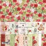 """Набор двусторонней бумаги """"Alice in wonderland"""", 11 листов, Коллекция """"Mother's tenderness"""", плотность бумаги 190гр, размер 30,5х30,5см, Summer studio, BU002182"""