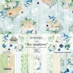 """Набор двусторонней бумаги """"Sky swallows"""", 11 листов, плотность бумаги 190гр, размер 30,5х30,5см, Summer studio, BU002185"""