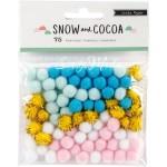 Помпоны - Pom Poms Snow and Cocoa, мягкие пушистые шарики размером 5 мм., в упаковке 75 шт. Crate Paper