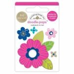 Стикер 3D mini Pink Poppy с эпоксидными элементами, высота 6 см., Doodlebug, DA000056