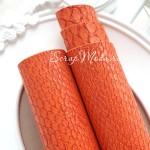 Кожзаменитель текстурный Рептилия, цвет Оранжевый, отрез размером 35х50 см(+/- 1см), тонкий 0,6 мм, на тканевой основе, DA000085