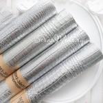 Кожзаменитель текстурный Рептилия, цвет Серебро, отрез размером 35х70см(+/- 1см), тонкий 0,6 мм, на тканевой основе, DA000093