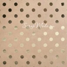 Кардсток Gold Dot, крафт+звёзды, 30,5х30,5 см, с фольгированием, Bazzill, DA000104