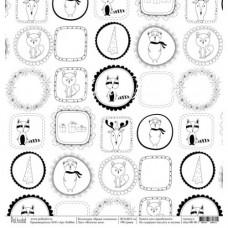 Односторонняя бумага Жители леса, коллекция Время снежинок, размер 30.5х30.5 см, Polkadot, DA000122