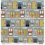 Односторонняя бумага Двери, коллекция На чемоданах, размер 30.5х30.5 см, Polkadot, DA000124