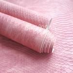 Кожзаменитель текстурный Питон, розовый, отрез размером 35х44см(+/- 1см), тонкий 0,8 мм, на тканевой основе, DA000146