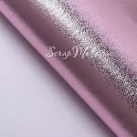Кожзаменитель Розовый, гладкий, металлизированный, отрез размером 35х70см(+/- 1см), тонкий 0,5 мм, на тканной основе. DA000151
