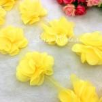 Шифоновые цветочки, цвет Жёлтый, размер 6 см., цена указана за 1 шт., DA000157